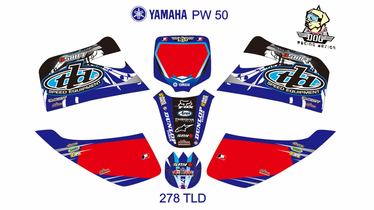 YAMAHA PW 50 GRAPHIC DECAL KIT CODE.278