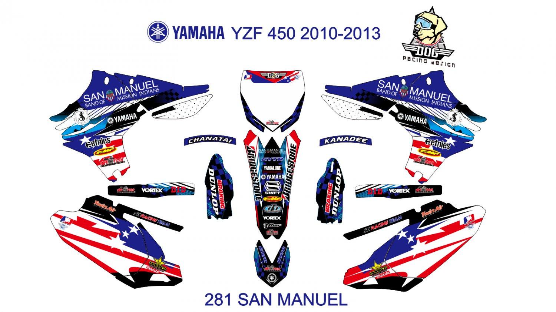 YAMAHA YZF 450 2010-2013 GRAPHIC DECAL KIT CODE.281
