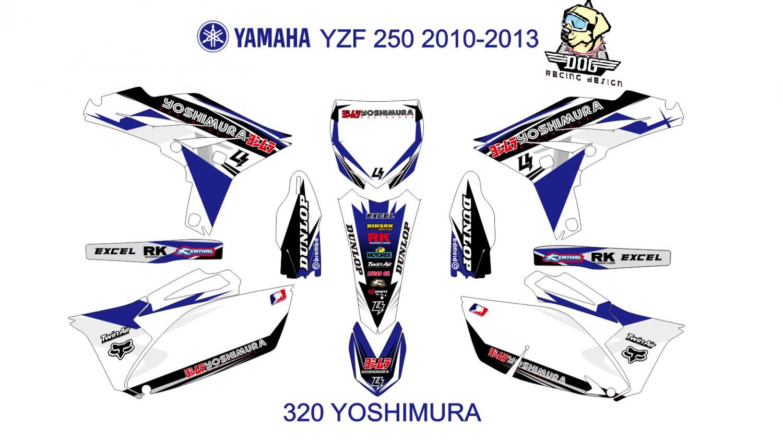 YAMAHA YZF 250 2010-2013 GRAPHIC DECAL KIT CODE.320
