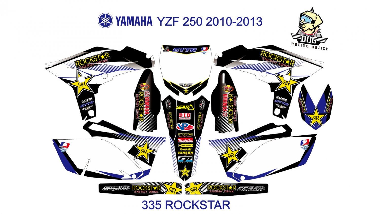 YAMAHA YZF 250 2010-2013 GRAPHIC DECAL KIT CODE.335