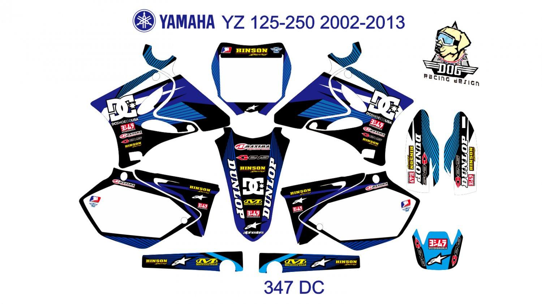 YAMAHA YZ 125-250 2002-2013 GRAPHIC DECAL KIT CODE.347