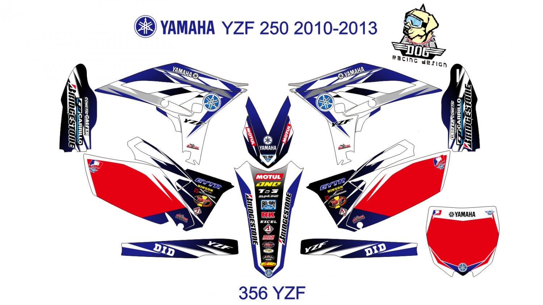 YAMAHA YZF 250 2010-2013 GRAPHIC DECAL KIT CODE.356