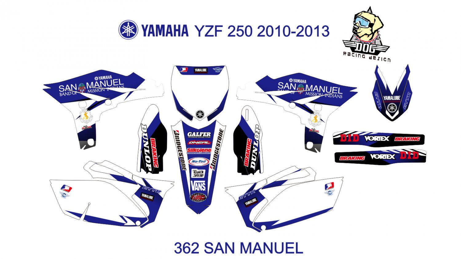 YAMAHA YZF 250 2010-2013 GRAPHIC DECAL KIT CODE.362