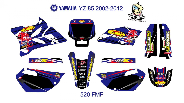 YAMAHA YZ 85 2002-2012 GRAPHIC DECAL KIT CODE.520