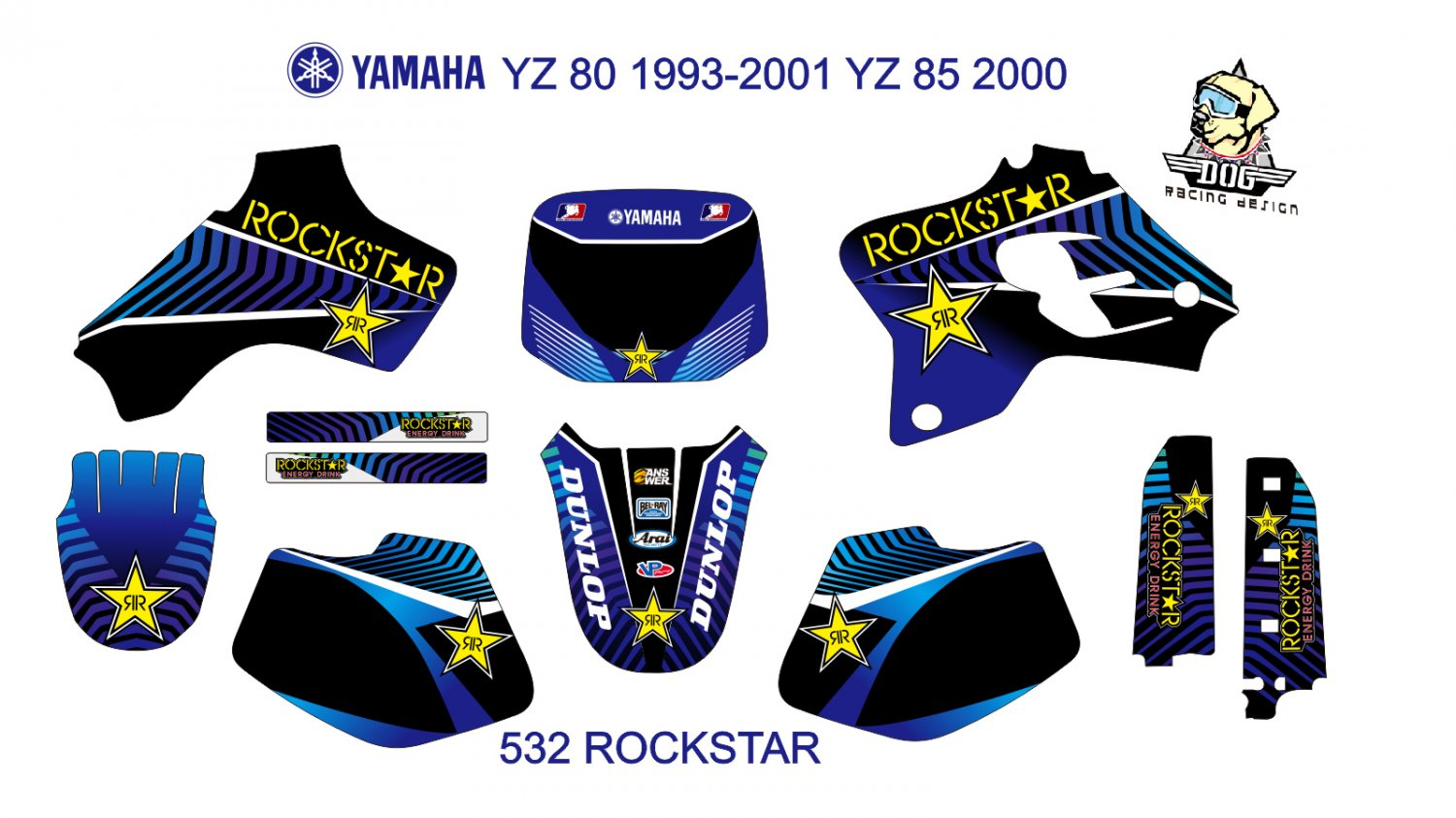 YAMAHA YZ 80 1993-2001 YZ 85 2000 GRAPHIC DECAL KIT CODE.532