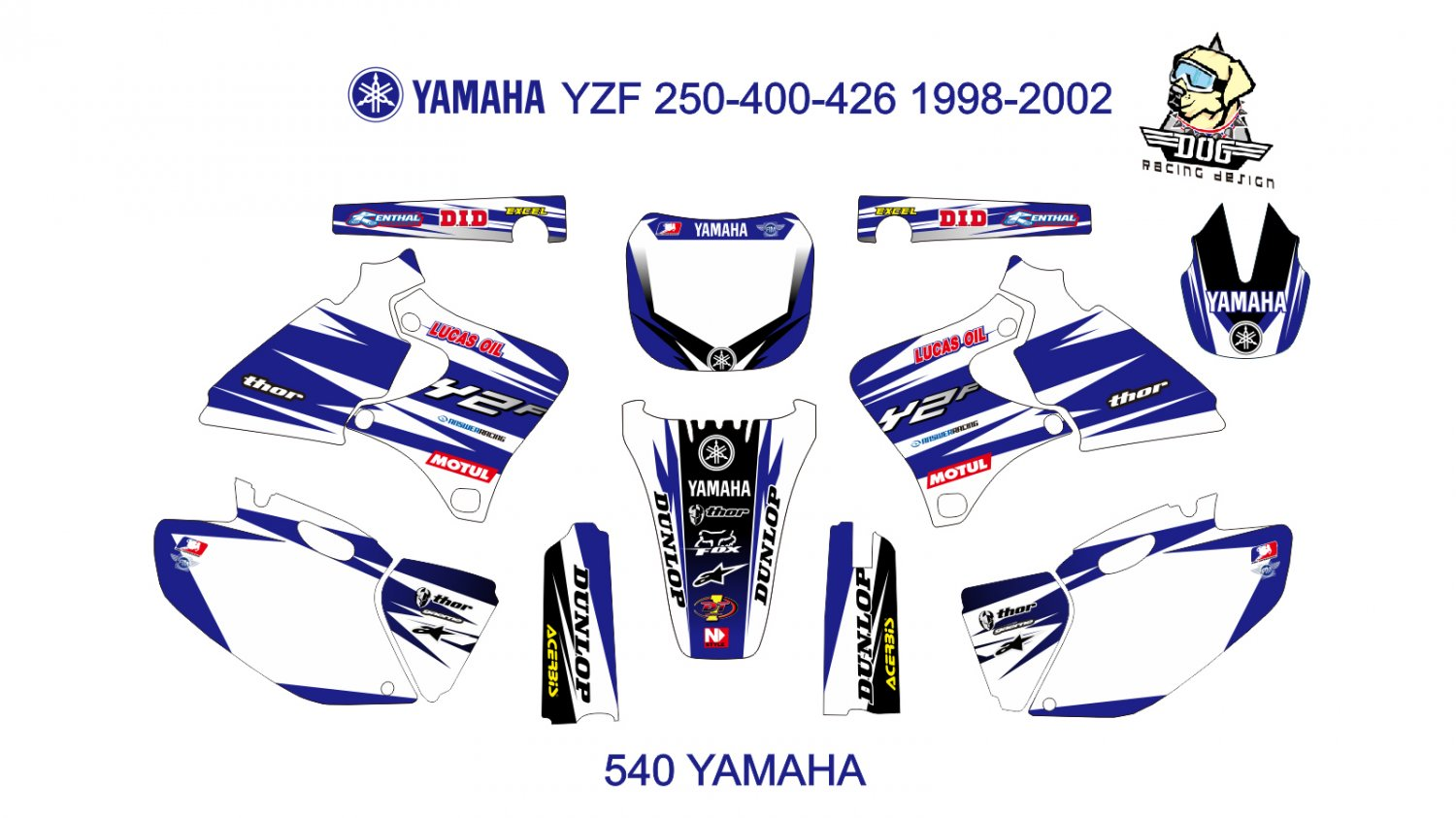YAMAHA YZF 250-400-426 1998-2002 GRAPHIC DECAL KIT CODE.540