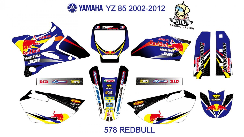 YAMAHA YZ 85 2002-2012 GRAPHIC DECAL KIT CODE.578