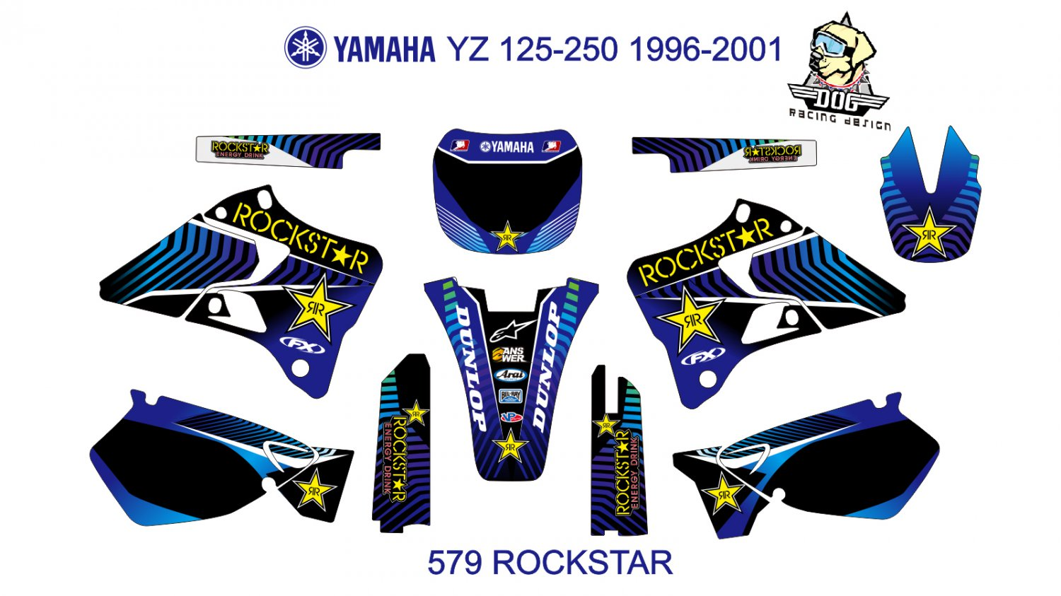YAMAHA YZ 125-250 1996-2001 GRAPHIC DECAL KIT CODE.579