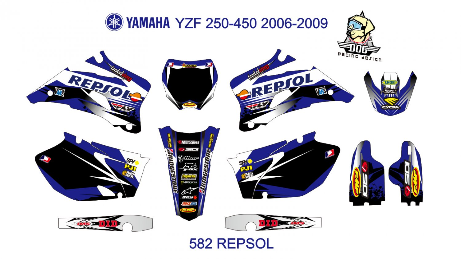YAMAHA YZF 250-450 2006-2009 GRAPHIC DECAL KIT CODE.582