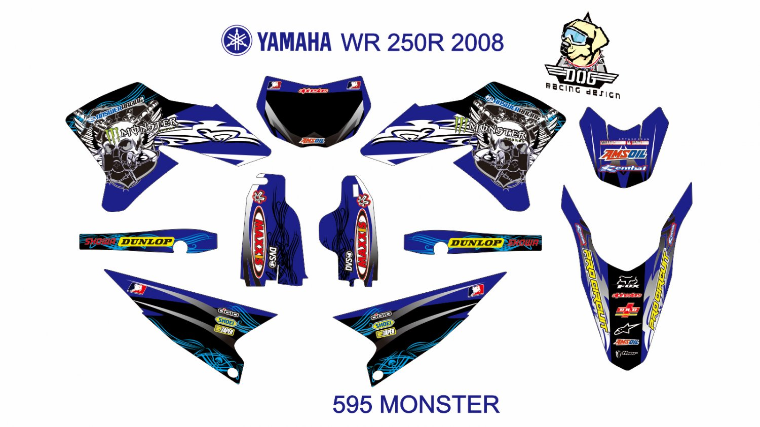 YAMAHA WR 250R 2008 GRAPHIC DECAL KIT CODE.595