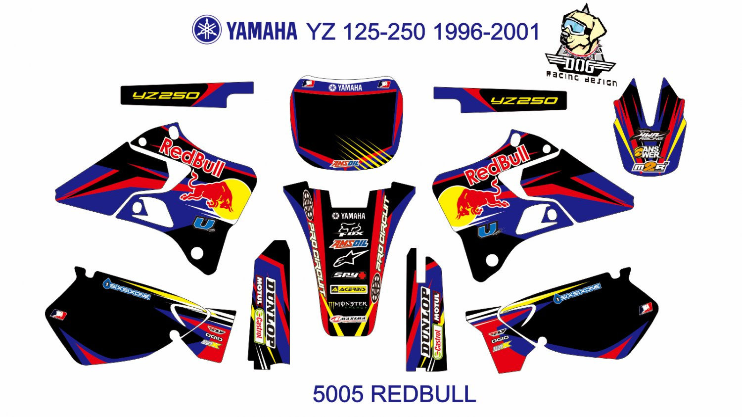 YAMAHA YZ 125-250 1996-2001 GRAPHIC DECAL KIT CODE.5005