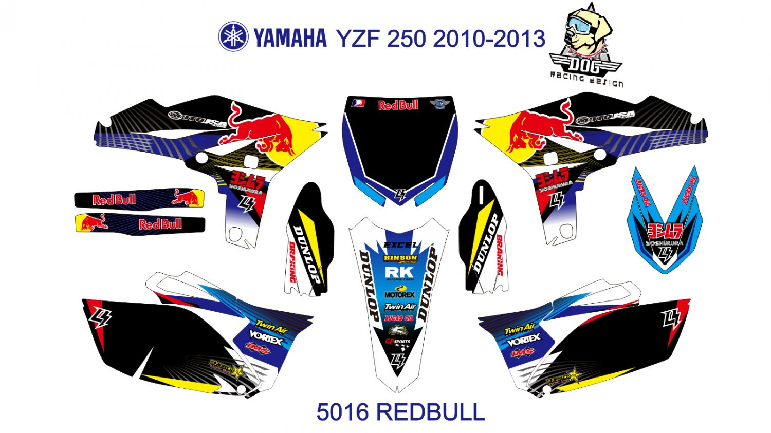 YAMAHA YZF 250 2010-2013 GRAPHIC DECAL KIT CODE.5016
