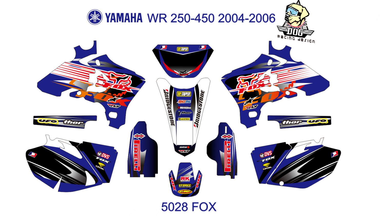 YAMAHA WR 250-450 2004-2006 GRAPHIC DECAL KIT CODE.5028