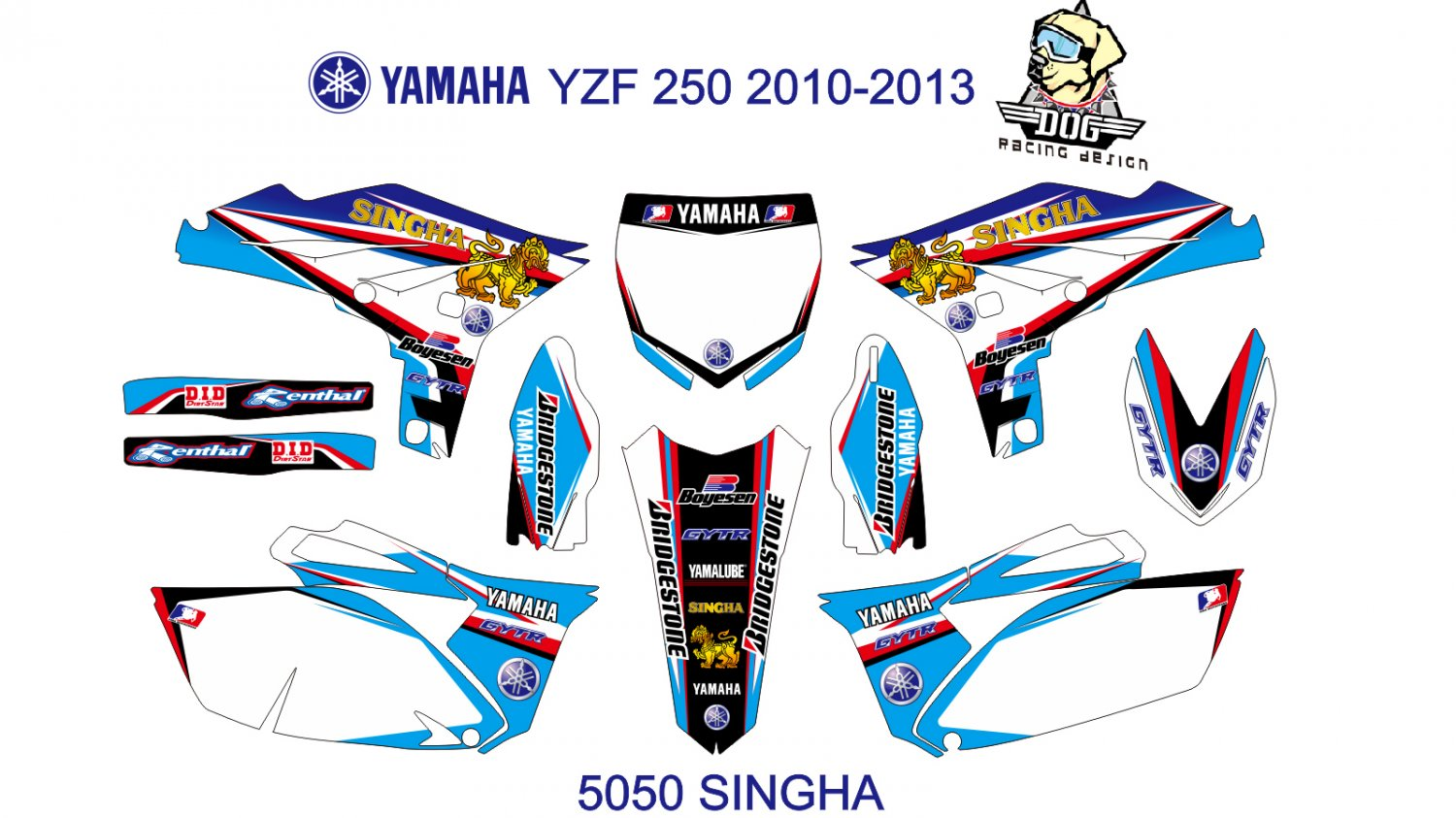YAMAHA YZF 250 2010-2013 GRAPHIC DECAL KIT CODE.5050