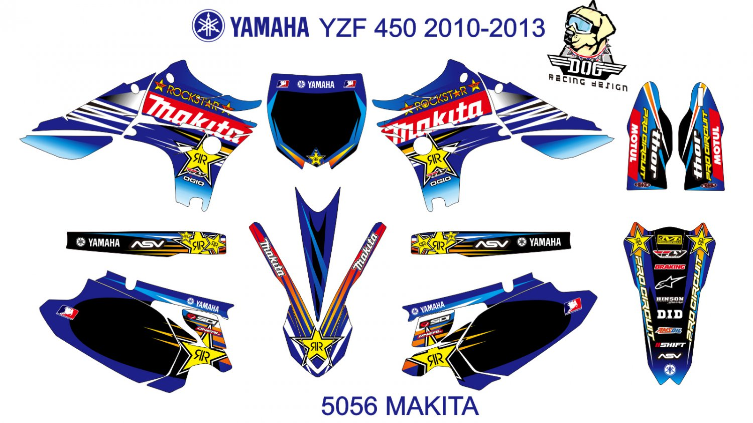 YAMAHA YZF 450 2010-2013 GRAPHIC DECAL KIT CODE.5056