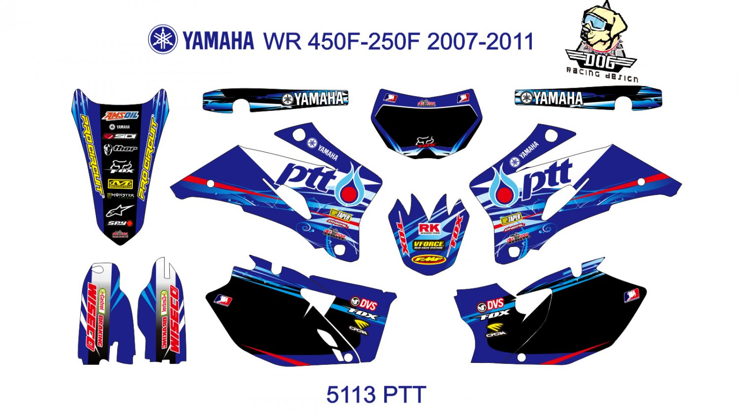 YAMAHA WR 450F-250F 2007-2011 GRAPHIC DECAL KIT CODE.5113