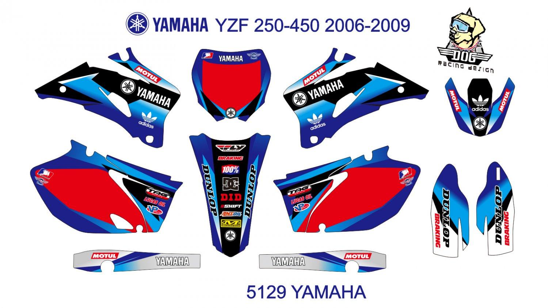 YAMAHA YZF 250-450 2006-2009 GRAPHIC DECAL KIT CODE.5129