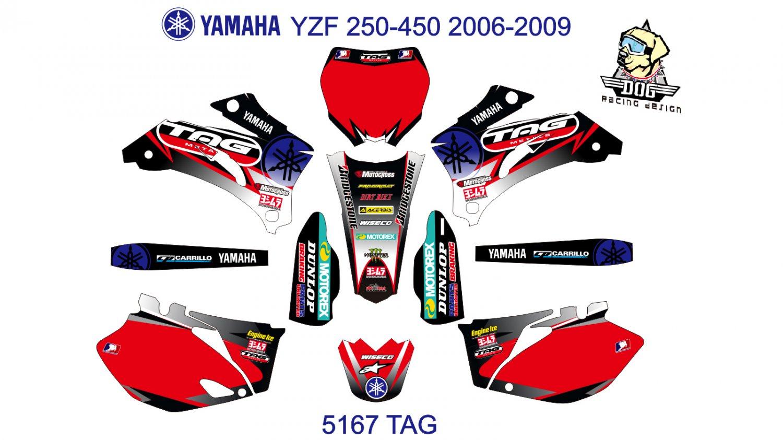 YAMAHA YZF 250-450 2006-2009 GRAPHIC DECAL KIT CODE.5167