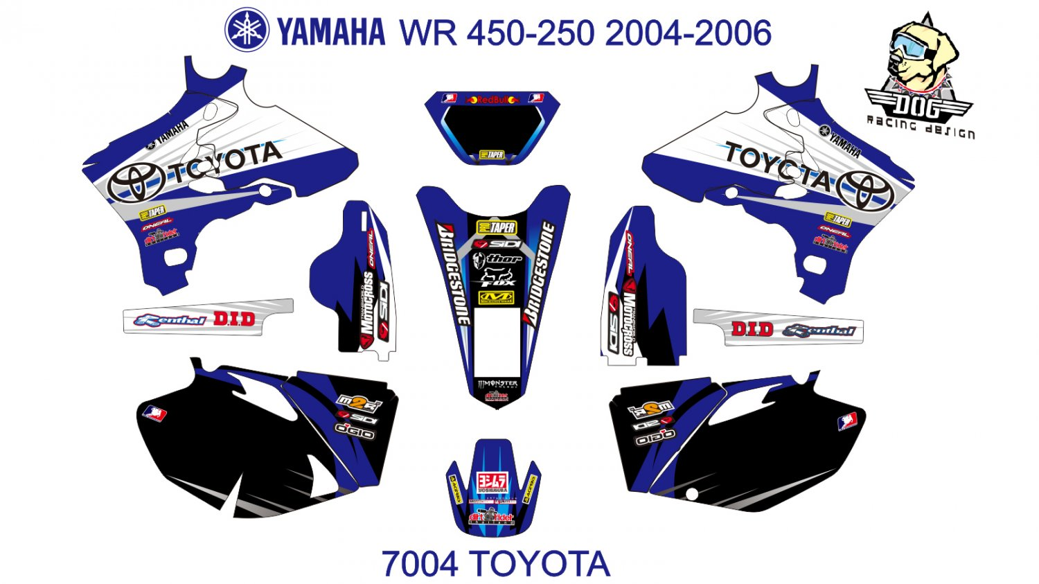 YAMAHA WR 450-250 2004-2006 GRAPHIC DECAL KIT CODE.7004