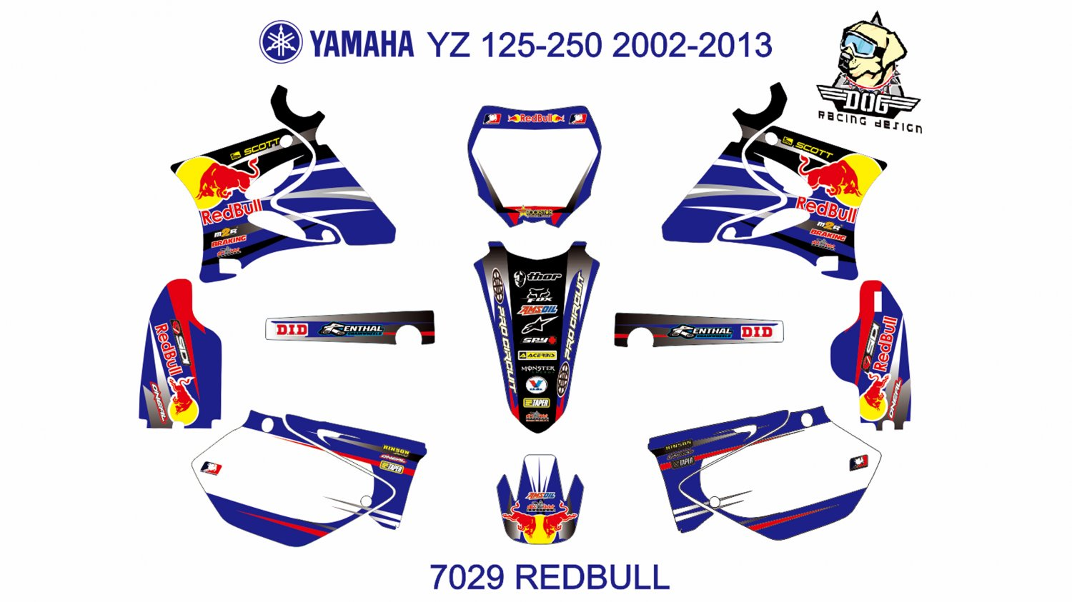 YAMAHA YZ 125-250 2002-2012 GRAPHIC DECAL KIT CODE.7029