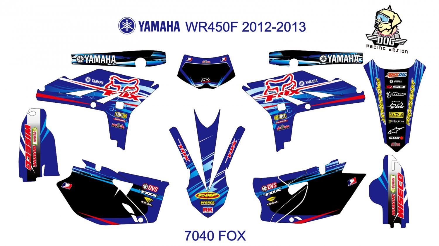 YAMAHA WR450F 2012-2013 GRAPHIC DECAL KIT CODE.7040