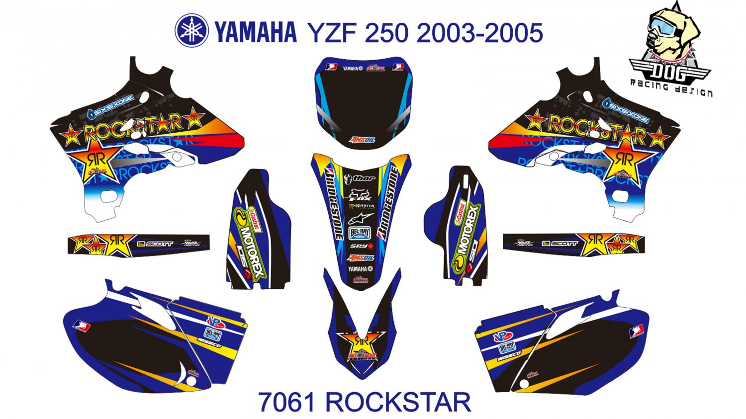 YAMAHA YZF 250 2003-2005 GRAPHIC DECAL KIT CODE.7061