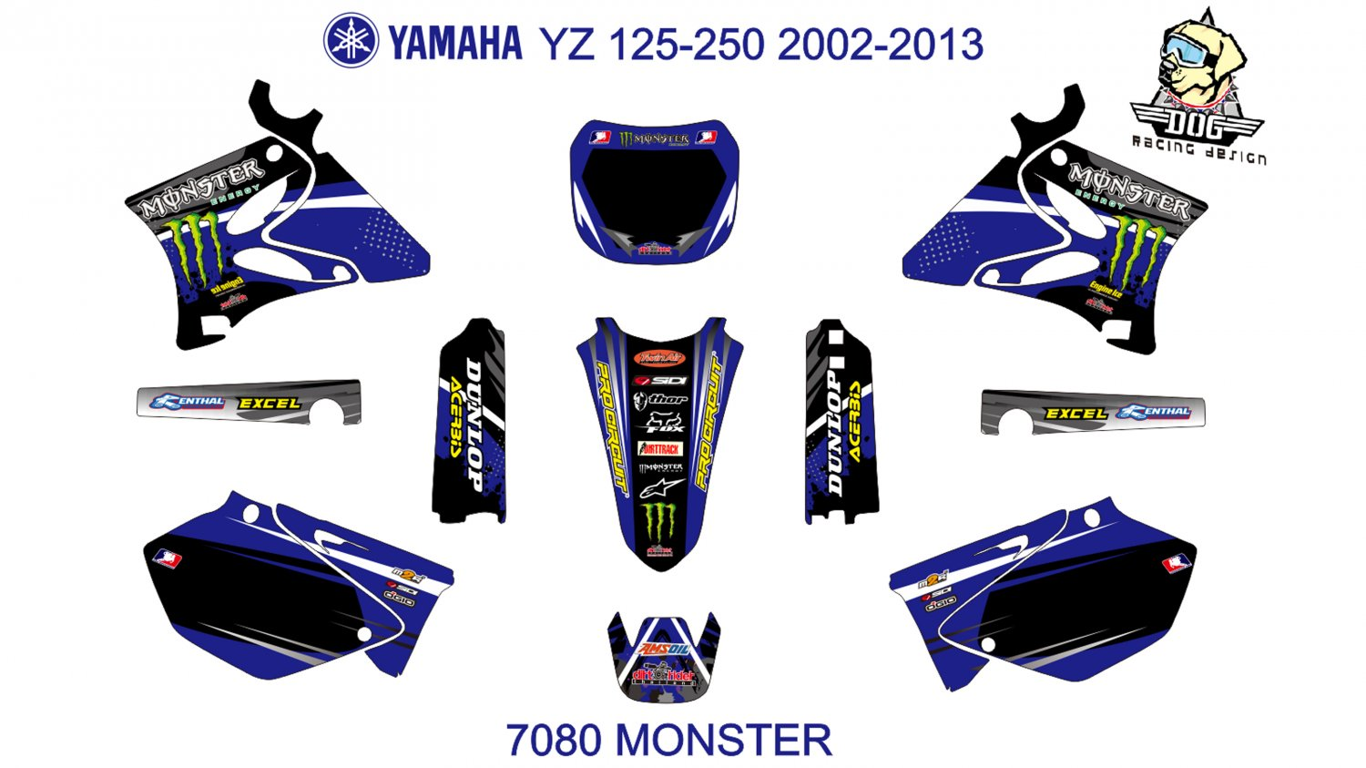 YAMAHA YZ 125-250 2002-2013 GRAPHIC DECAL KIT CODE.7080