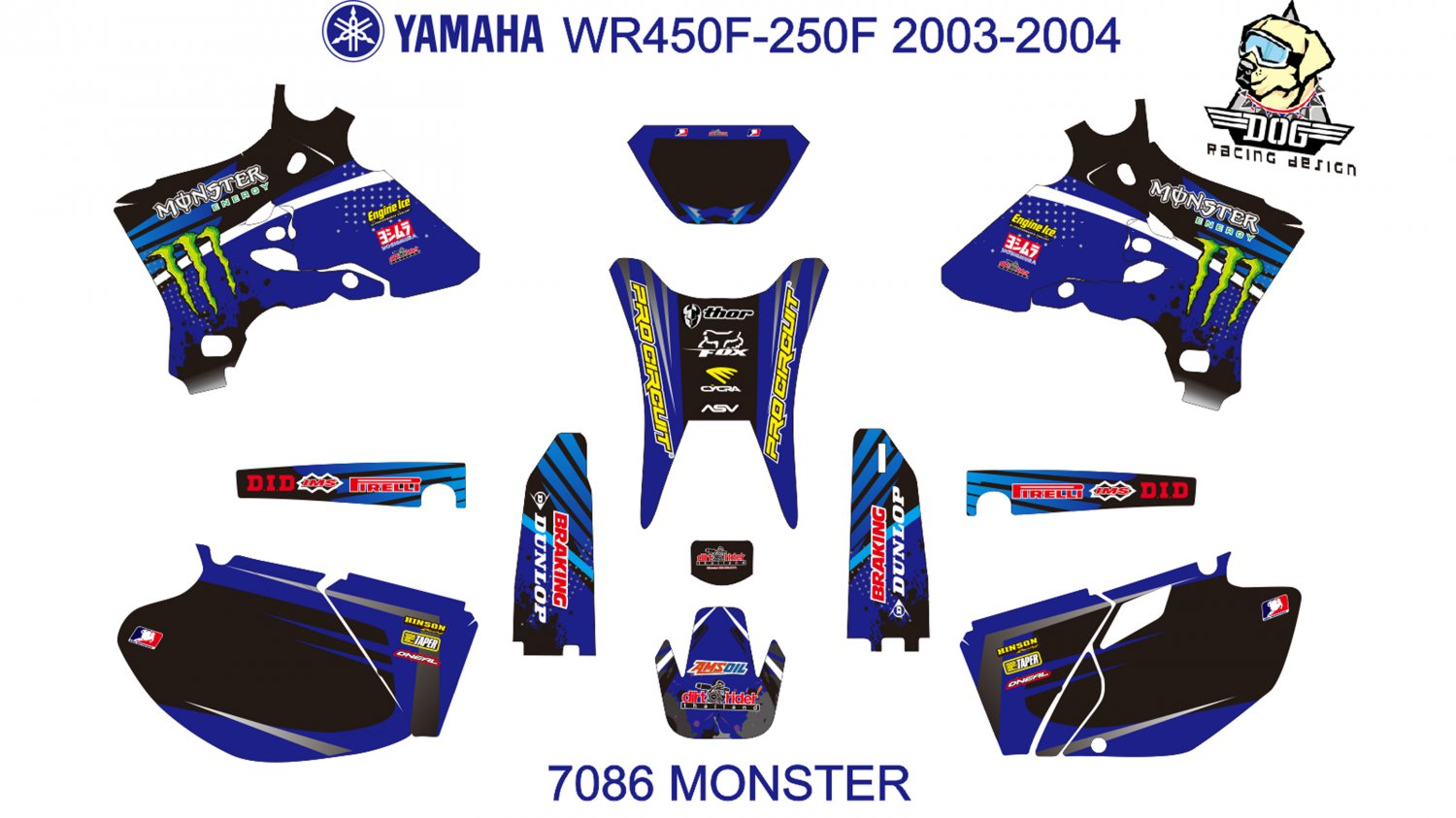 YAMAHA WR450F-250F 2003-2004 GRAPHIC DECAL KIT CODE.7086