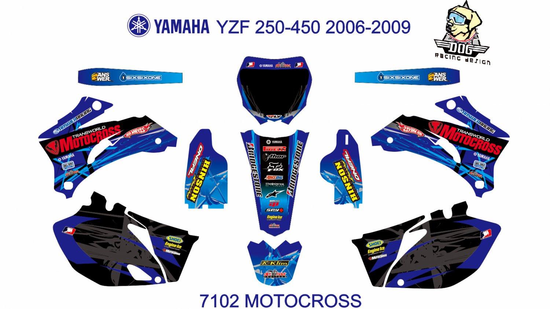 YAMAHA YZF 250-450 2006-2009 GRAPHIC DECAL KIT CODE.7102