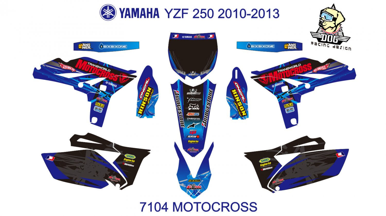 YAMAHA YZF 250 2010-2013 GRAPHIC DECAL KIT CODE.7104