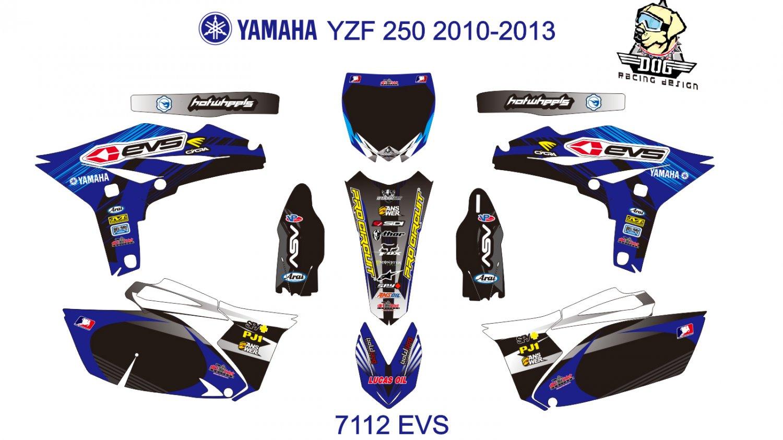 YAMAHA YZF 250 2010-2013 GRAPHIC DECAL KIT CODE.7112