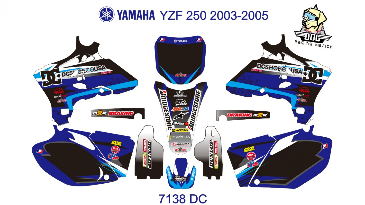 YAMAHA YZF 250 2003-2005 GRAPHIC DECAL KIT CODE.7138
