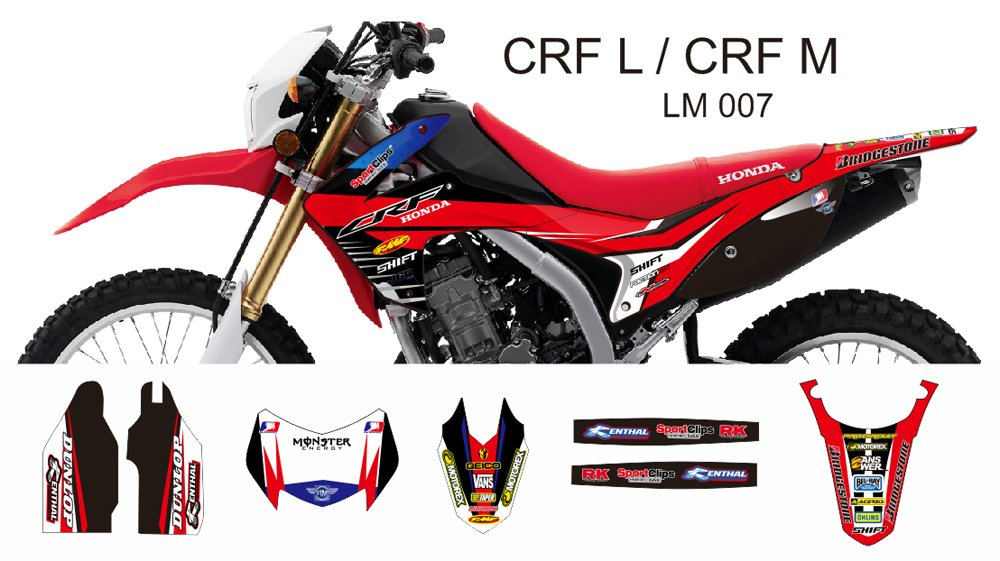 HONDA CRF L CRF M 2013-2014 GRAPHIC DECAL KIT CODE.LM 007