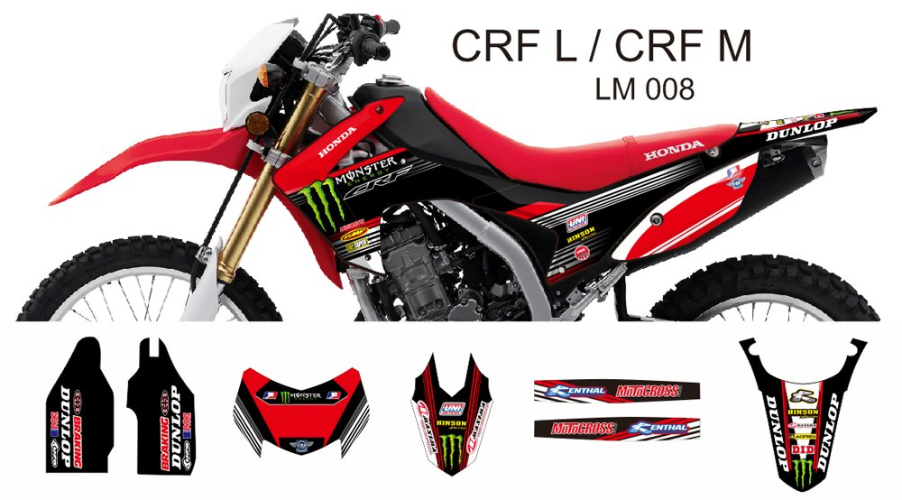 HONDA CRF L CRF M 2013-2014 GRAPHIC DECAL KIT CODE.LM 008