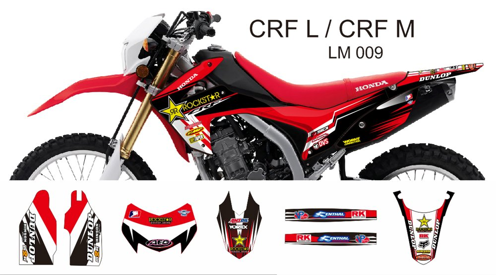 HONDA CRF L CRF M 2013-2014 GRAPHIC DECAL KIT CODE.LM 009