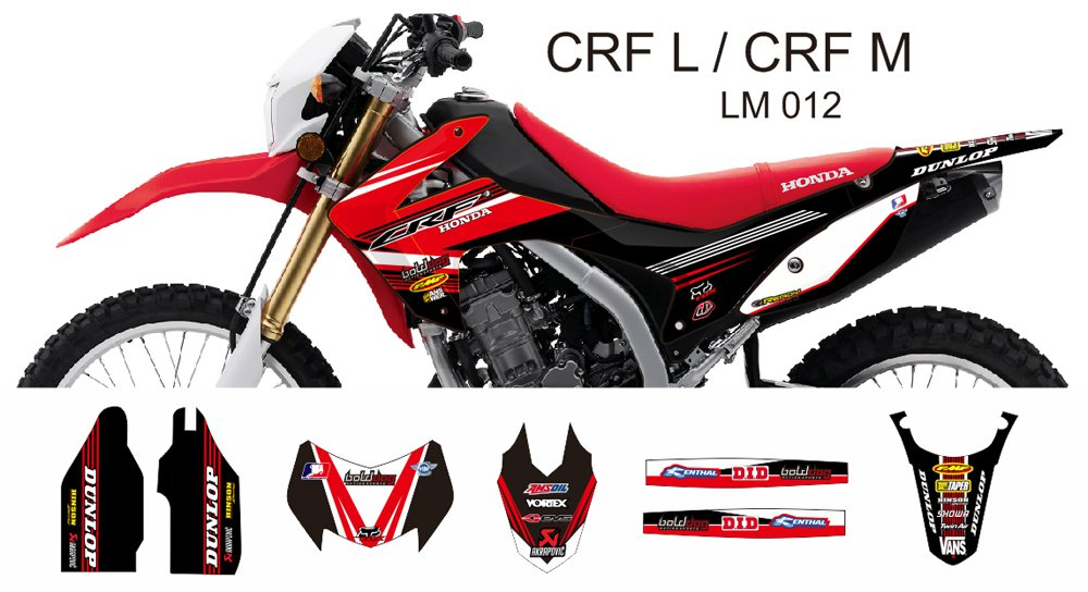 HONDA CRF L CRF M 2013-2014 GRAPHIC DECAL KIT CODE.LM 012