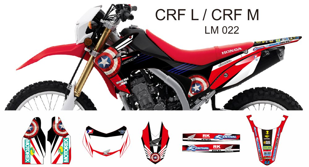 HONDA CRF L CRF M 2013-2014 GRAPHIC DECAL KIT CODE.LM 022