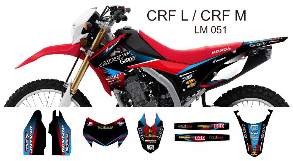 HONDA CRF L CRF M 2013-2014 GRAPHIC DECAL KIT CODE.LM 051