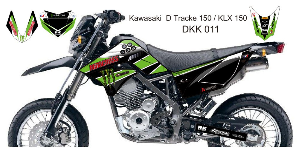 KAWASAKI D TRACKER 150 / KLX 150 GRAPHIC DECAL KIT CODE.DKK 011