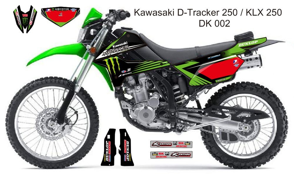 KAWASAKI D TRACKER 250 / KLX 250 GRAPHIC DECAL KIT CODE.DK 002