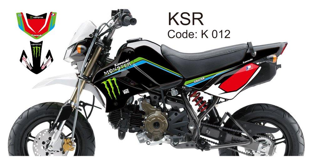 KAWASAKI KSR 2012-2014 GRAPHIC DECAL KIT CODE.K 012