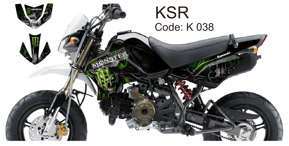 KAWASAKI KSR 2012-2014 GRAPHIC DECAL KIT CODE.K 038
