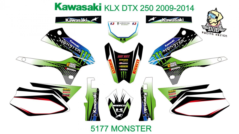 KAWASAKI KLX DTX 250 2009-2014 GRAPHIC DECAL KIT CODE.5177