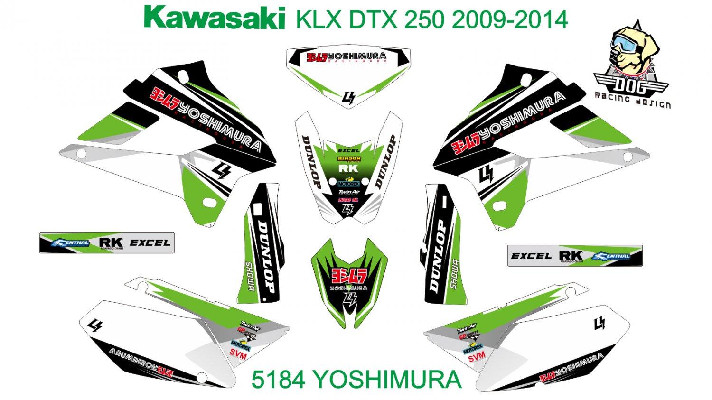 KAWASAKI KLX DTX 250 2009-2014 GRAPHIC DECAL KIT CODE.5184