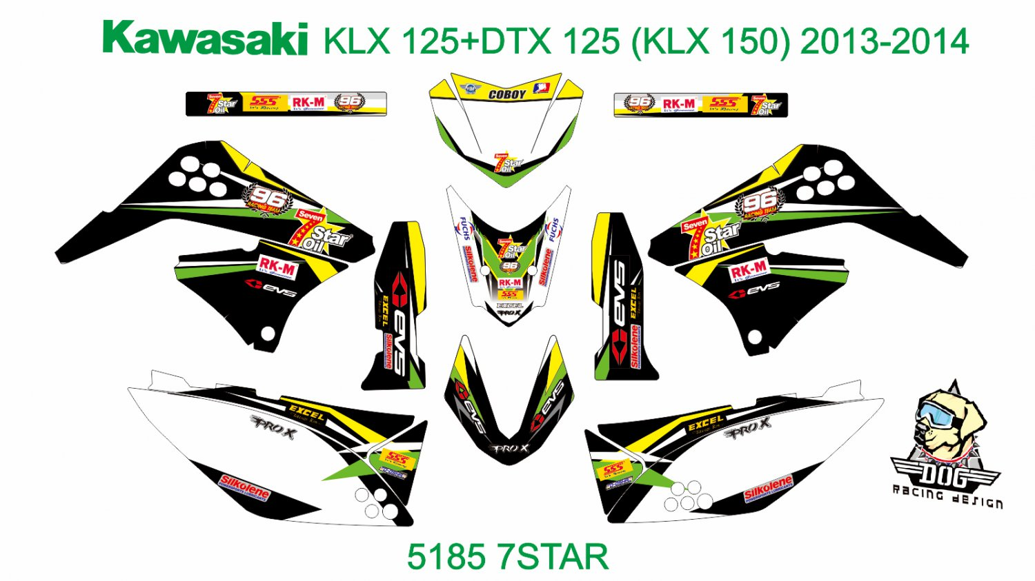 KAWASAKI KLX 125+DTX 125 (KLX 150) 2013-2014 GRAPHIC DECAL KIT CODE.5185