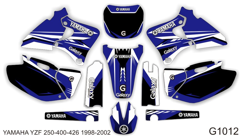 YAMAHA YZF 250-400-426 1998-2002 GRAPHIC DECAL KIT CODE.G1012