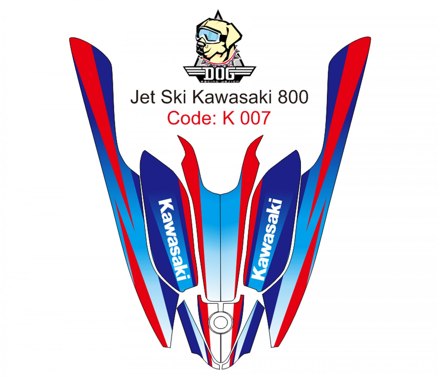 KAWASAKI 800 JET SKI GRAPHIC DECAL KIT CODE.K 007