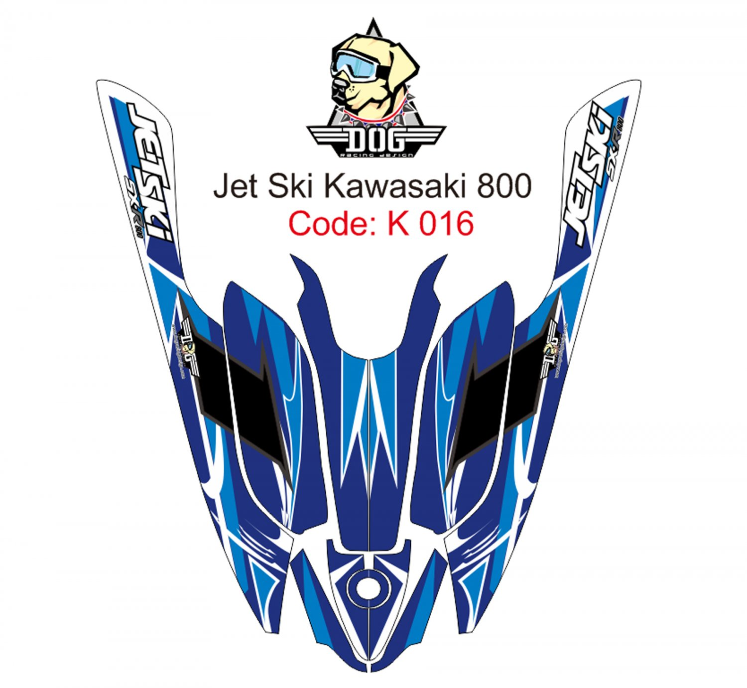KAWASAKI 800 JET SKI GRAPHIC DECAL KIT CODE.K 016