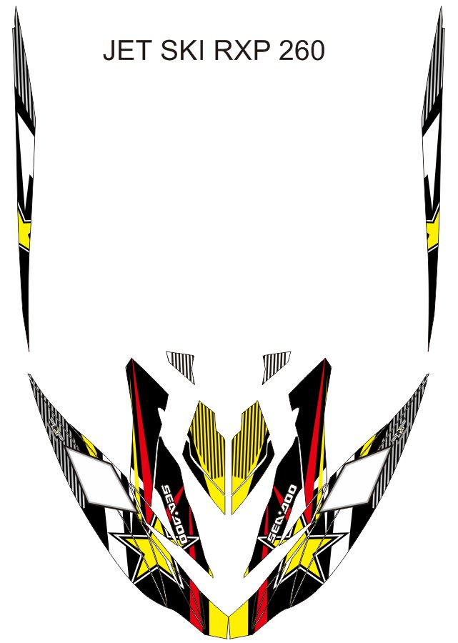 SEADOO RXP 260 JET SKI GRAPHIC DECAL KIT CODE.RXP 005
