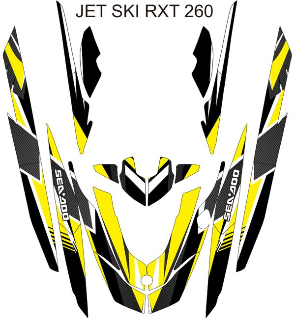 SEADOO RXT 260 JET SKI GRAPHIC DECAL KIT CODE.RXT 011